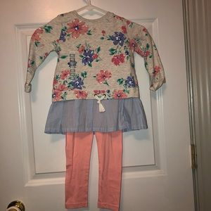 Carter's Girls 2 Piece Outfit Sz 4T Floral w Pink